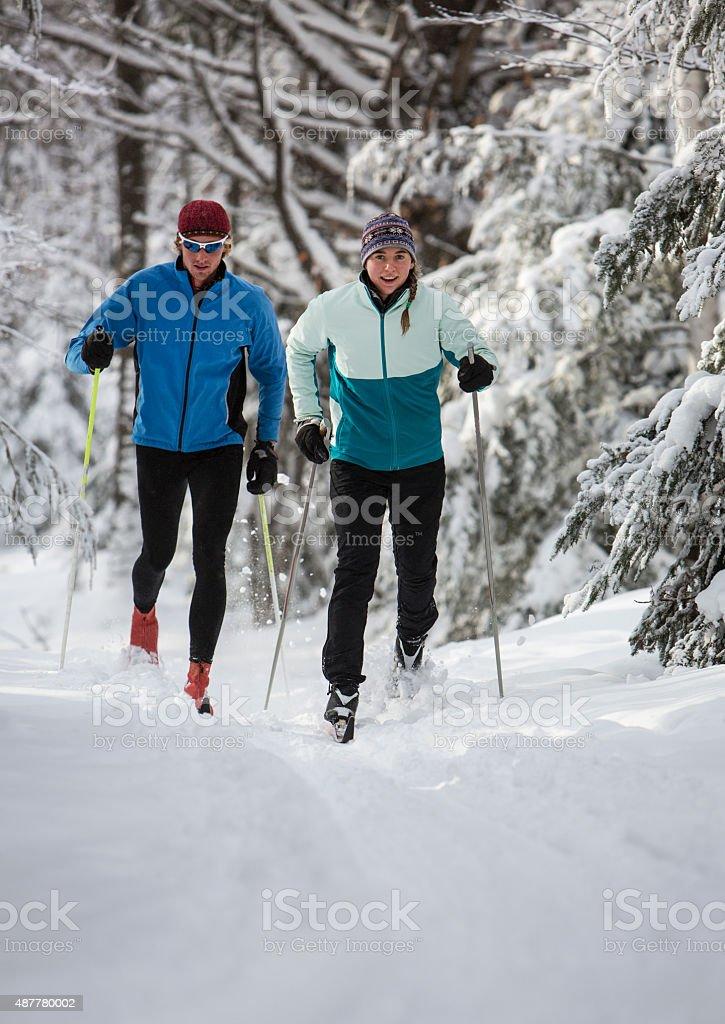 Cross Country Skiing Couple stock photo