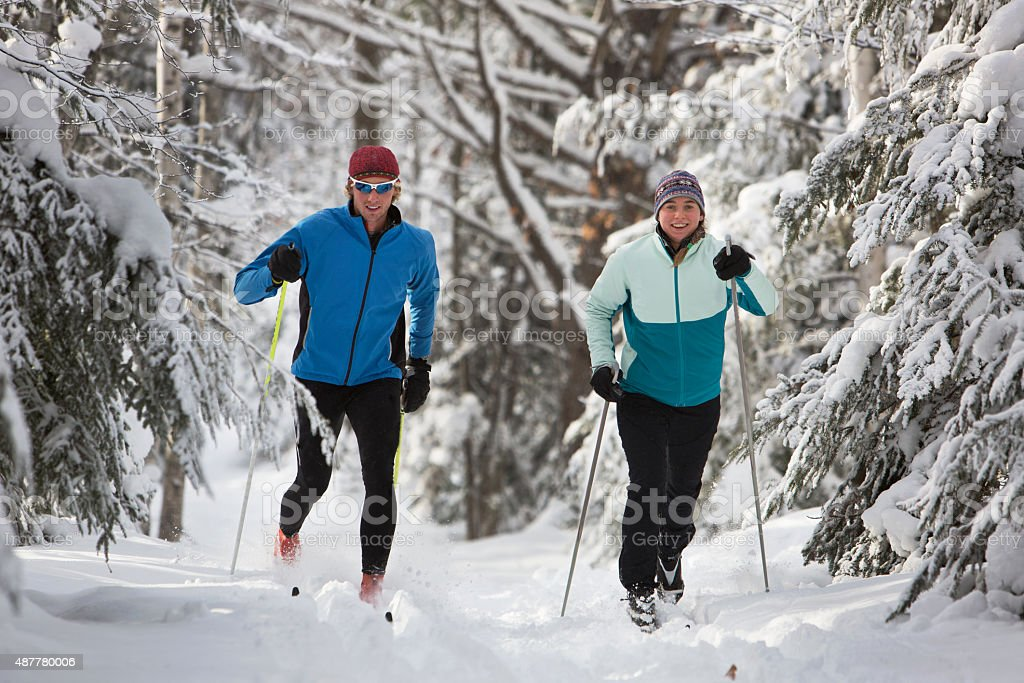 Cross Country Skiing Couple stock photo