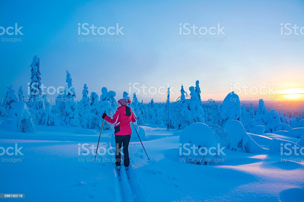 Cross country skiing on mountain stock photo