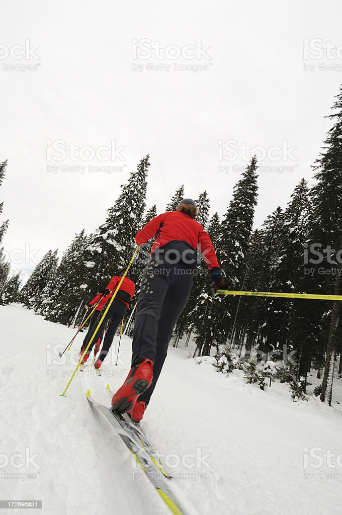 Three young adults at cross country skiing