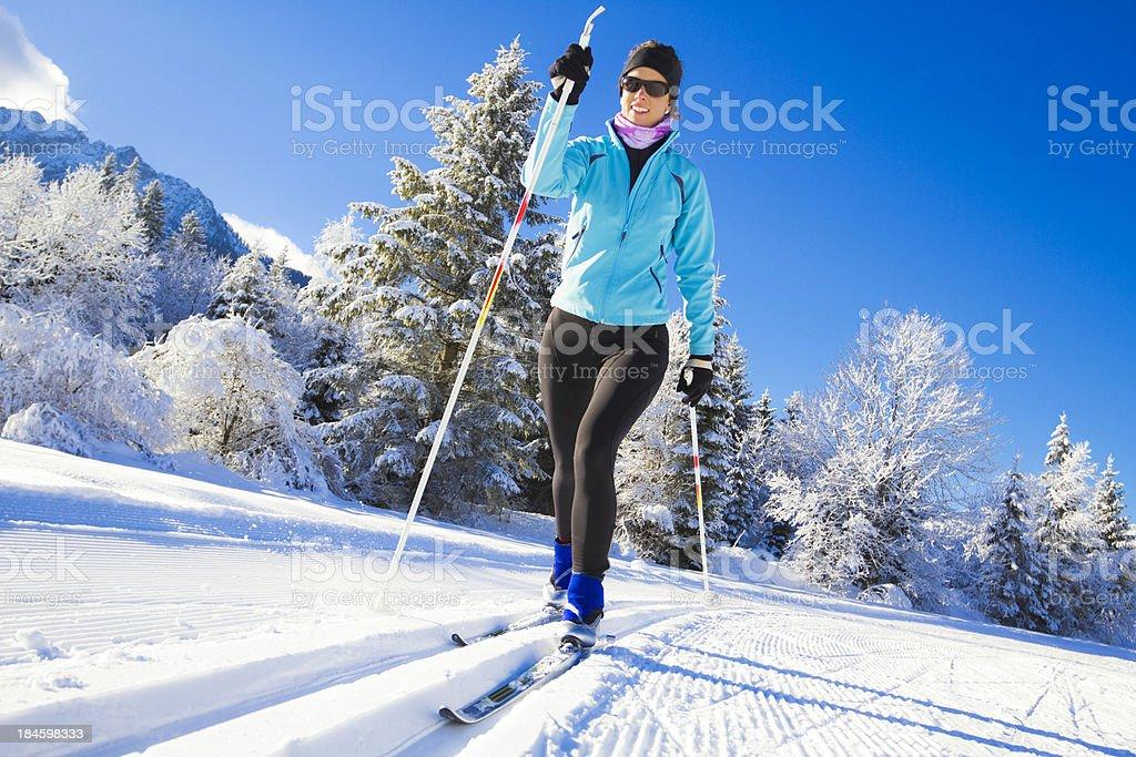 cross country skiing stock photo