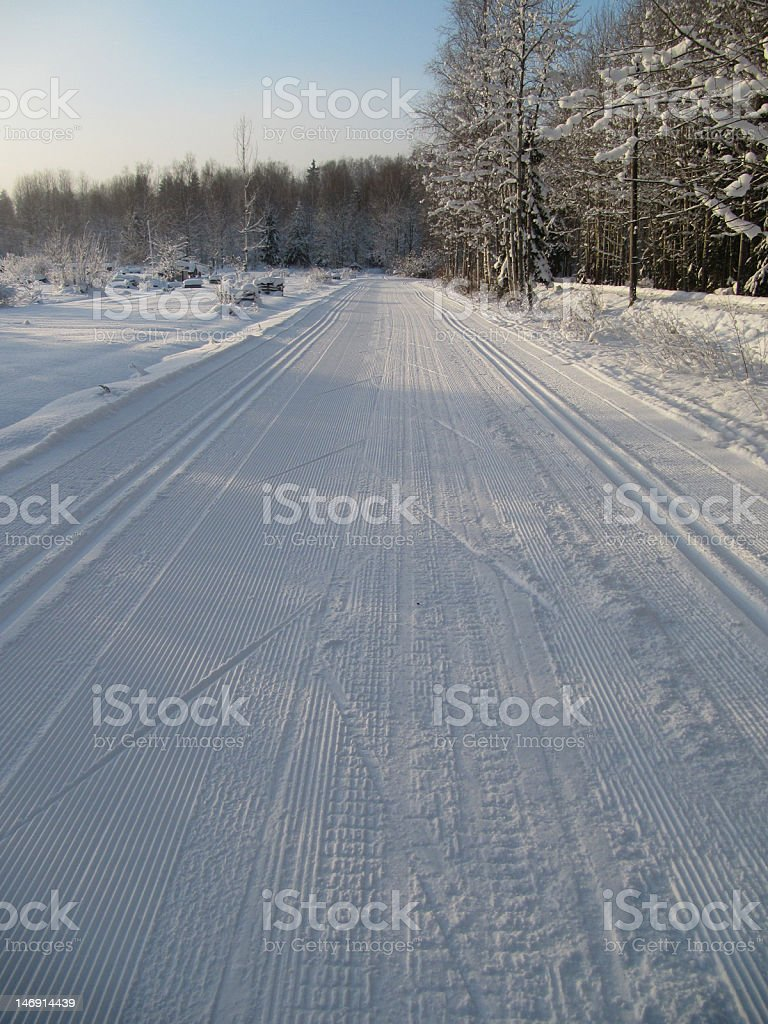 Cross Country Skiing Track royalty-free stock photo