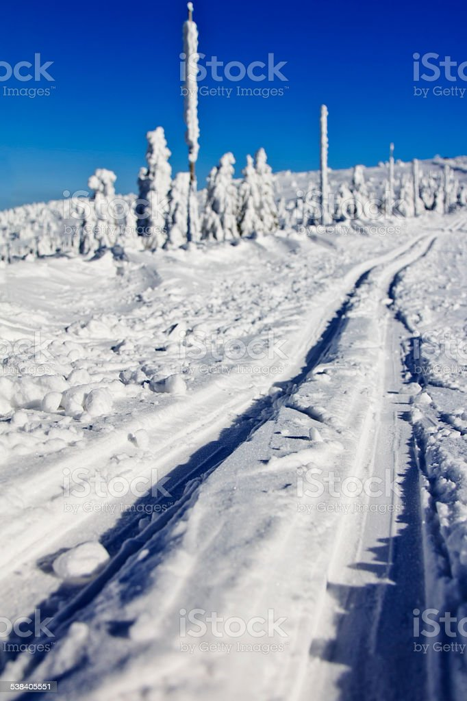 Cross country skiing trail stock photo