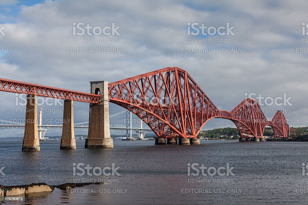 Cross Country Voyager Train on the Forth Rail Bridge stock photo