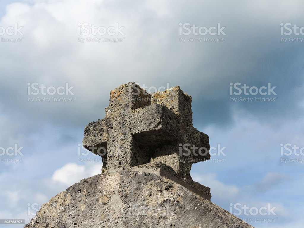 Cross crucifix silhouette and clouds royalty-free stock photo