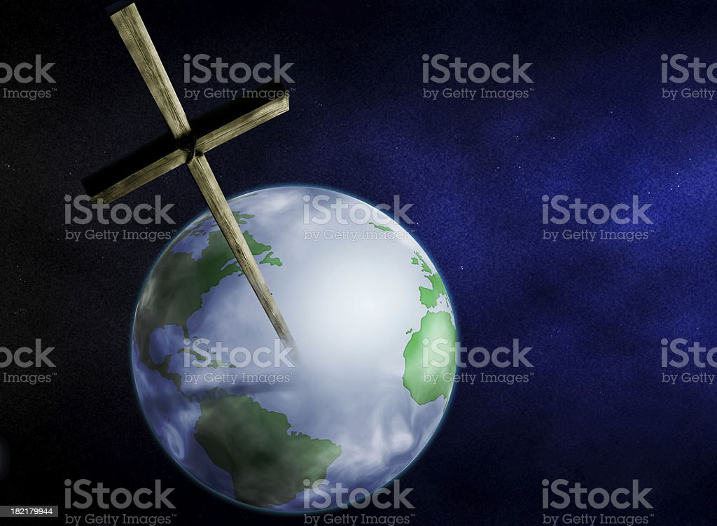 Cross & Earth royalty-free stock photo