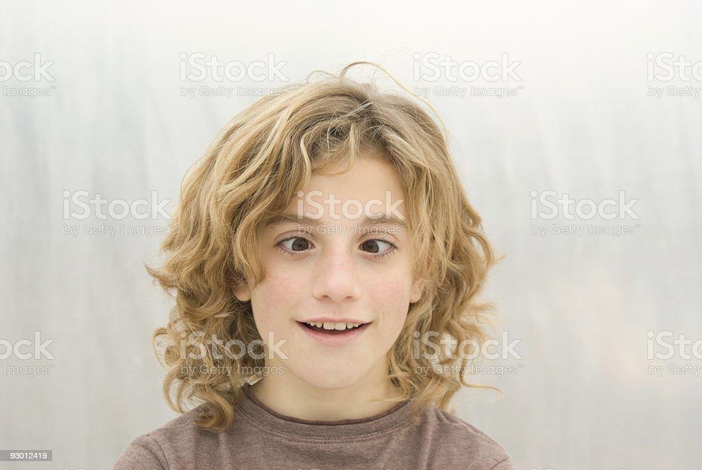 Cross Eyed Young Girl stock photo