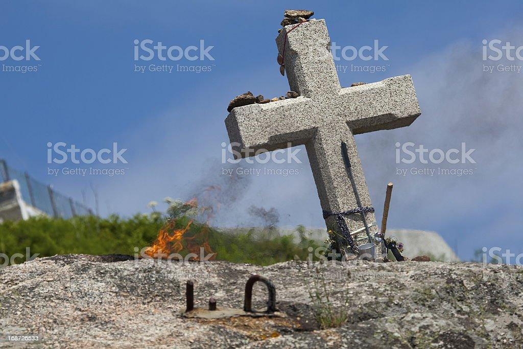 Cross in Fisterra, La Coruna stock photo