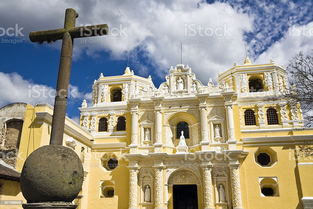 Cross in front of La Merced royalty-free stock photo