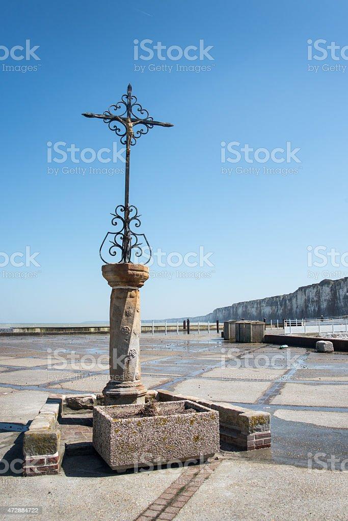 Cross in front of the sea, Saint Valery en Caux stock photo