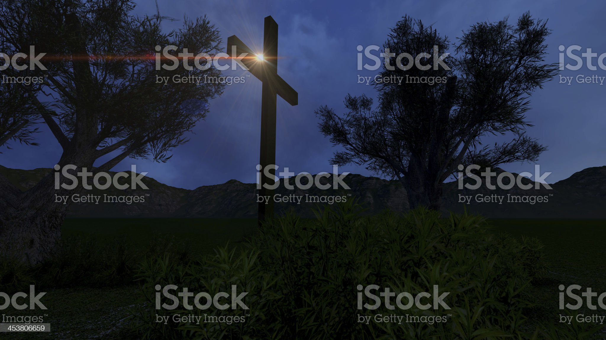Cross in nature by night royalty-free stock photo