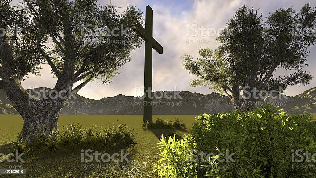 Cross in nature royalty-free stock photo