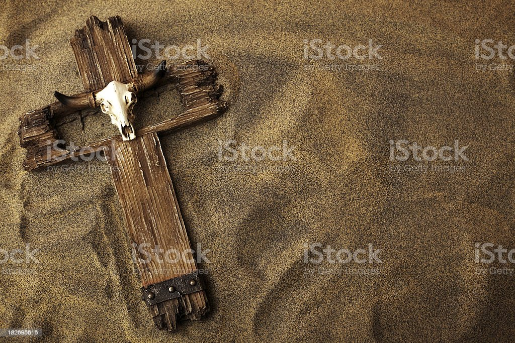 Cross in Sand royalty-free stock photo