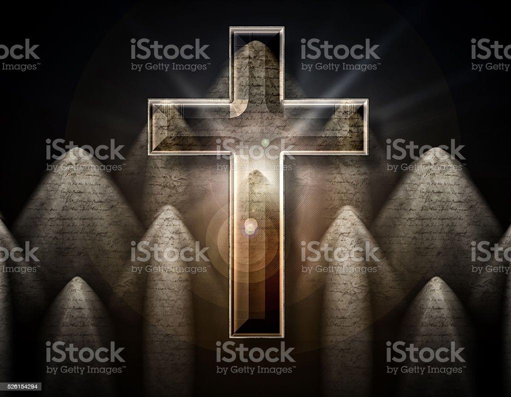 Cross in the center, 3D illustration stock photo