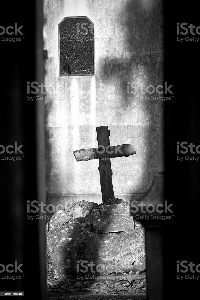 Cross in the sun stock photo