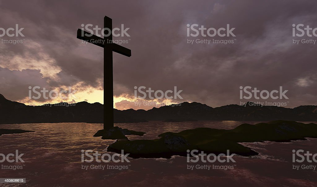 Cross in water royalty-free stock photo