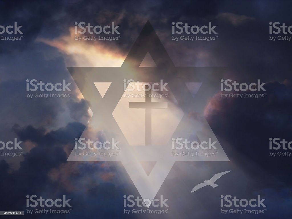 Cross inside Star of David stock photo