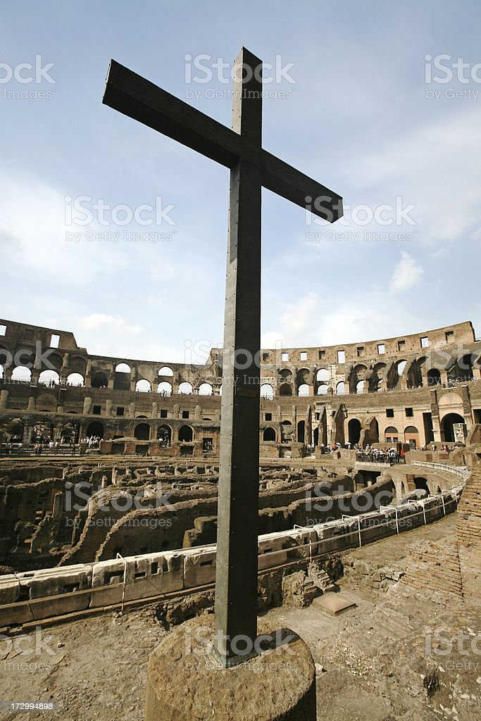 Cross Inside The Colosseum, Rome royalty-free stock photo