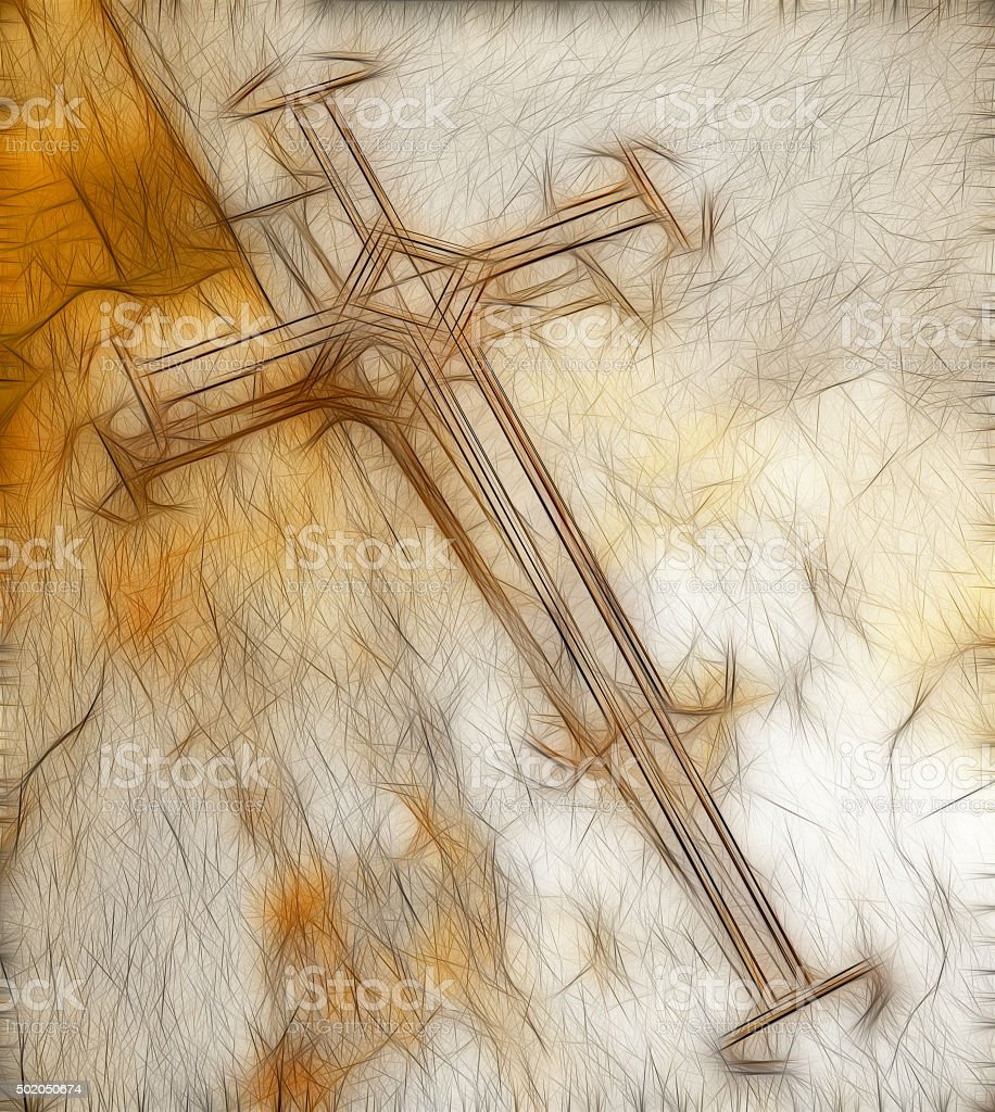Cross made from wire stock photo