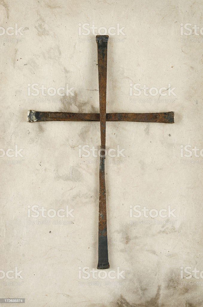 Cross Made of Rusty Old Nails royalty-free stock photo