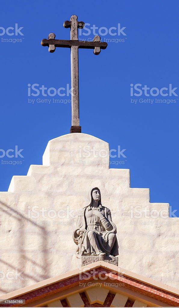 Cross Mary Statue Mission Santa Barbara California stock photo
