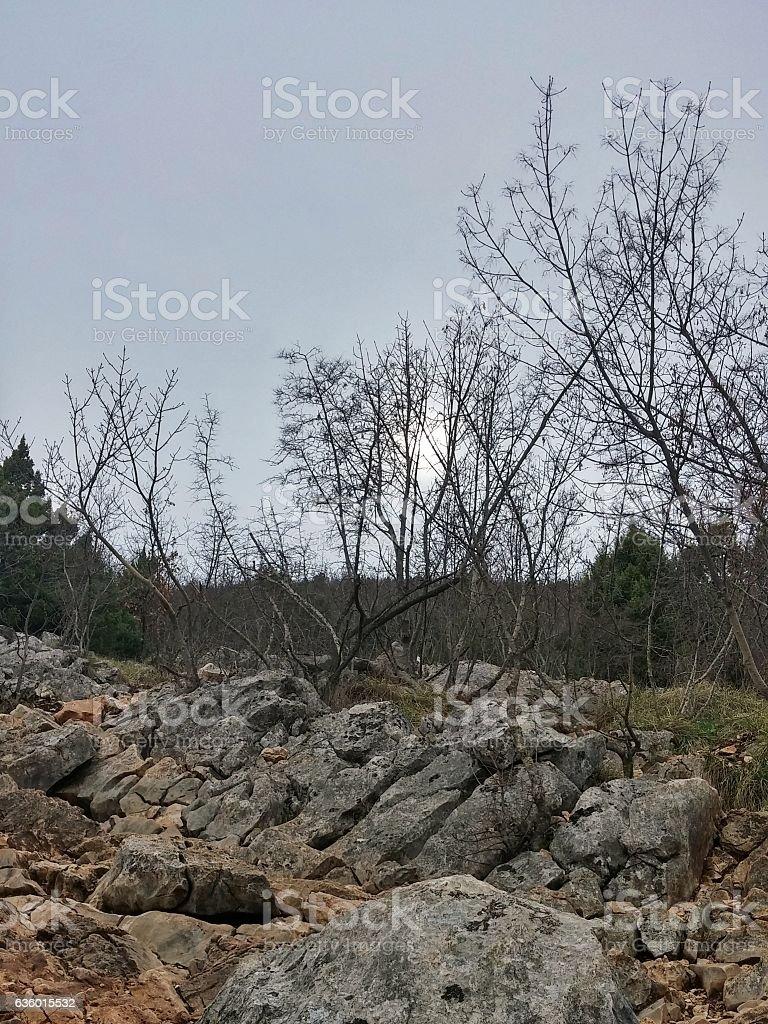 Cross Mountain, Mount Krizevac, Overcast Sky, Sun, Medjugorje, Bosnia stock photo