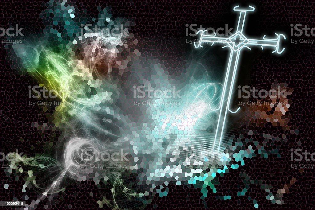 Cross of light stock photo