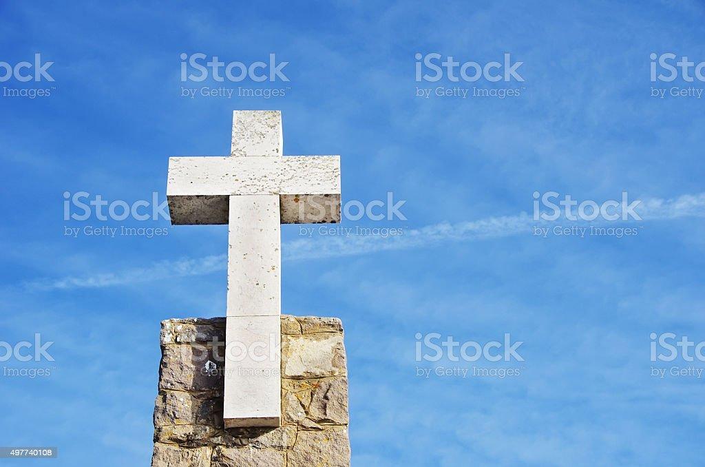 Cross of marble in the Cabo da Roca, Portugal stock photo