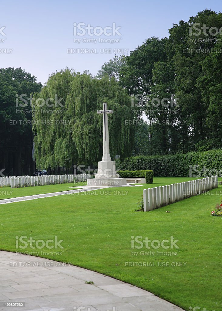Cross of Sacrifice at Ploegsteert Memorial to Missing, Ypres, Belgium stock photo