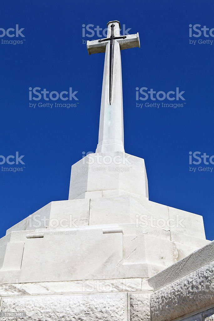 Cross of Sacrifice at Tyne Cot Cemetery in Ypres stock photo