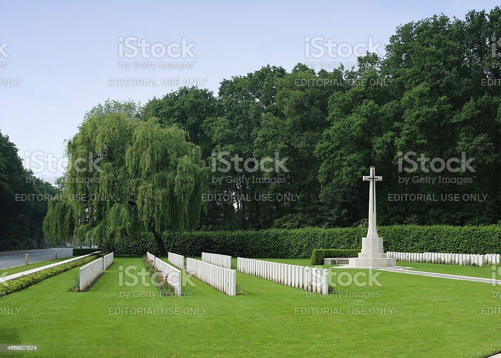 Cross of Sacrifice Ploegsteert Memorial to the Missing  Belgium stock photo