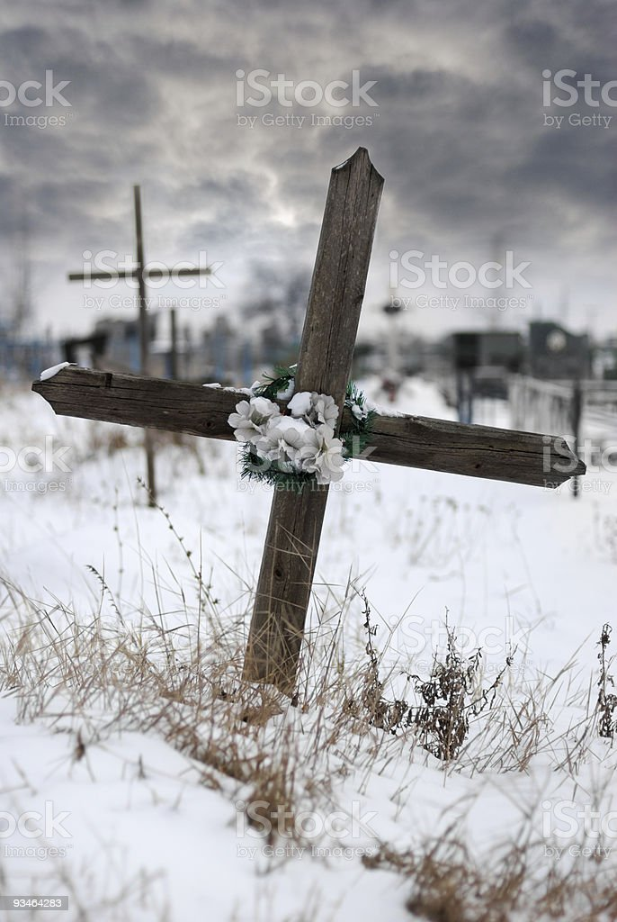 Cross on a cemetery royalty-free stock photo