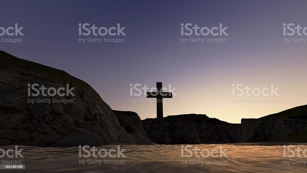 cross on a hill royalty-free stock photo