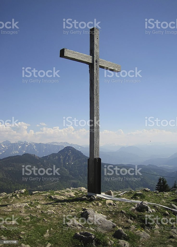 Cross on a mountain royalty-free stock photo