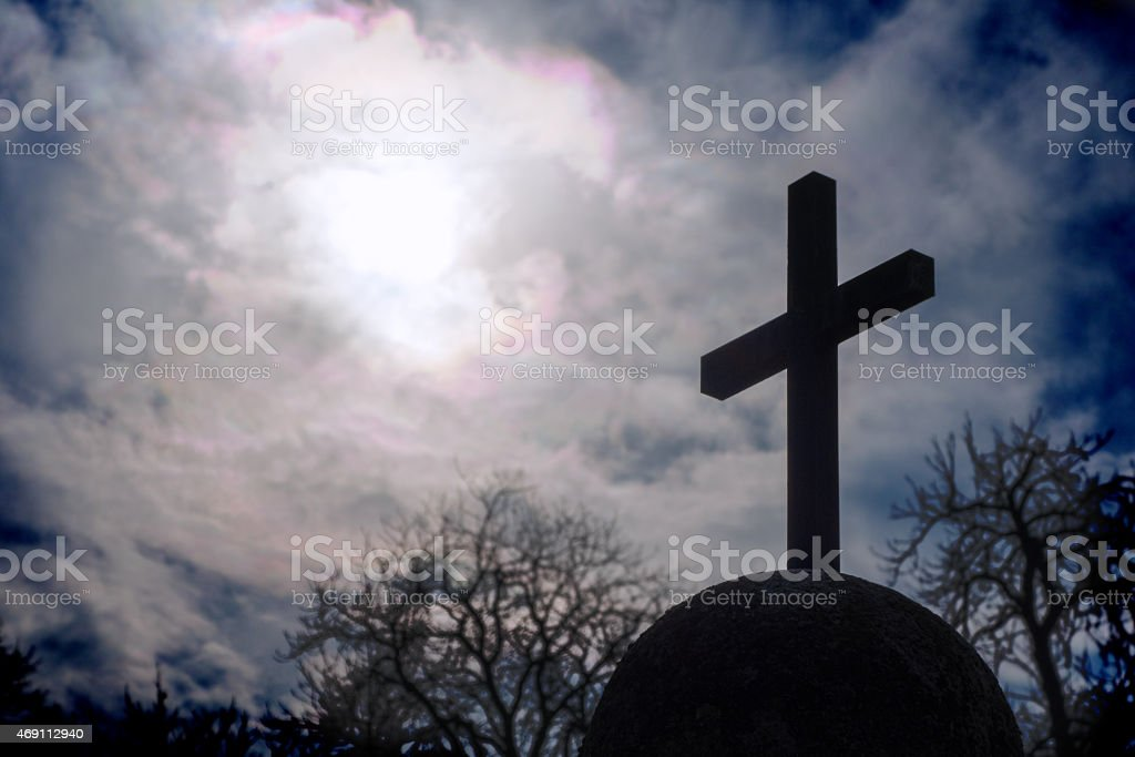 Cross on a spherical socket stock photo