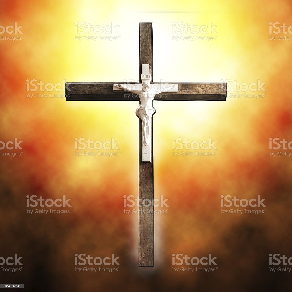 Cross on black background royalty-free stock photo