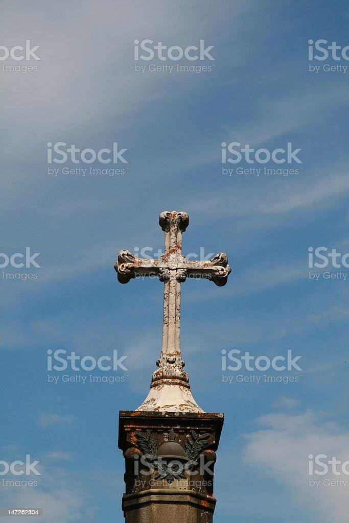 Cross on Blue Sky stock photo