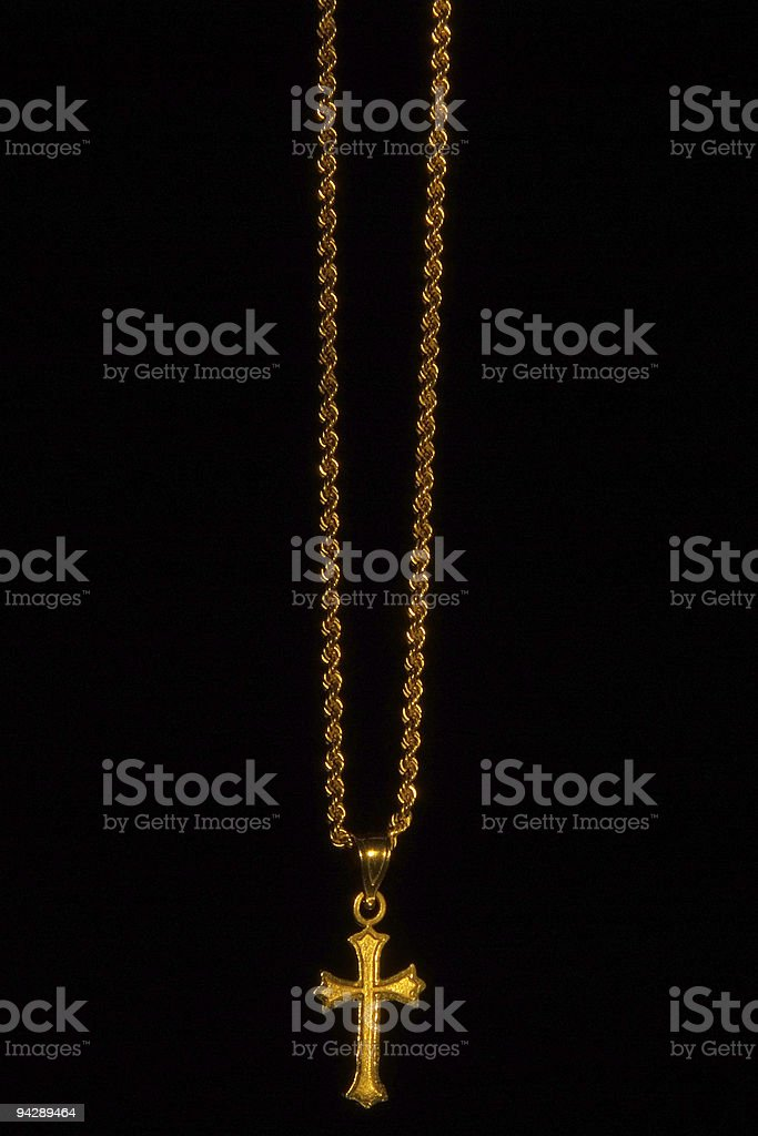 Cross on chain with black background royalty-free stock photo