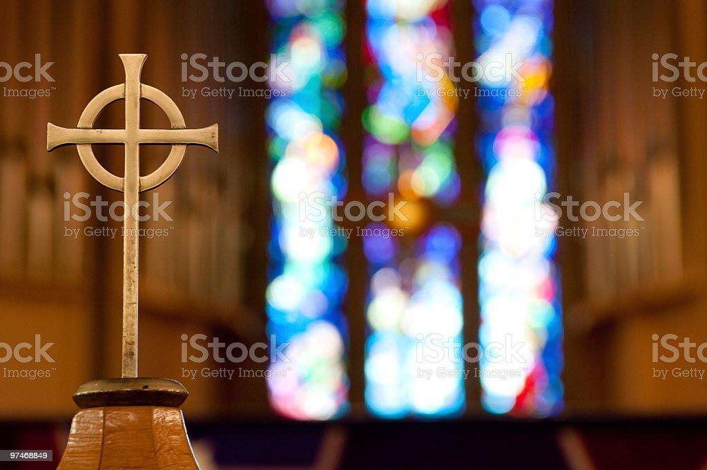 Cross on Church Alter stock photo