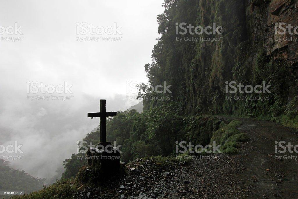 Cross on death road, Bolivia stock photo