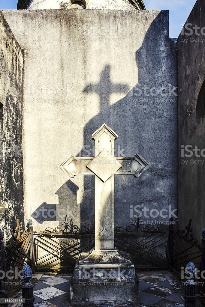 Cross on grave royalty-free stock photo