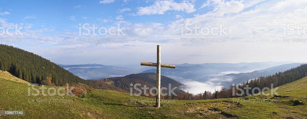 Cross on mountain royalty-free stock photo