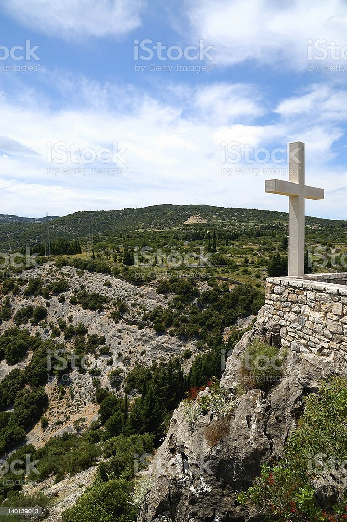 Cross on mountain royalty-free stock photo