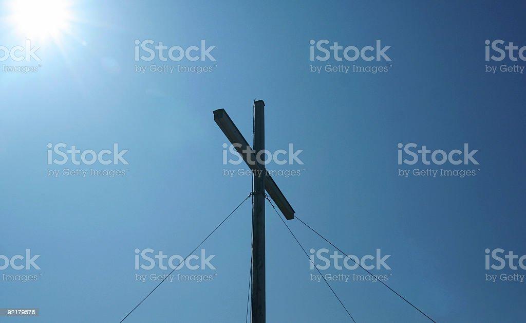 Cross on mountain summit royalty-free stock photo