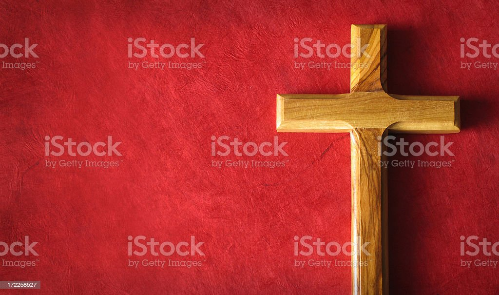 Cross on Red Grunge Background royalty-free stock photo