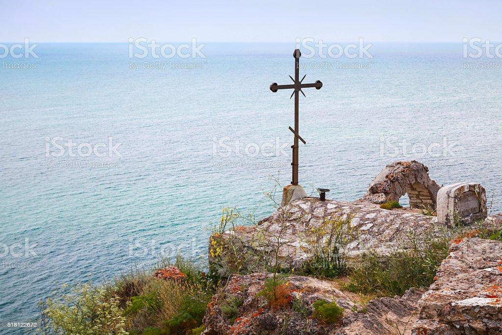Cross on roof of chapel Sveti Nikola, Kaliakra stock photo