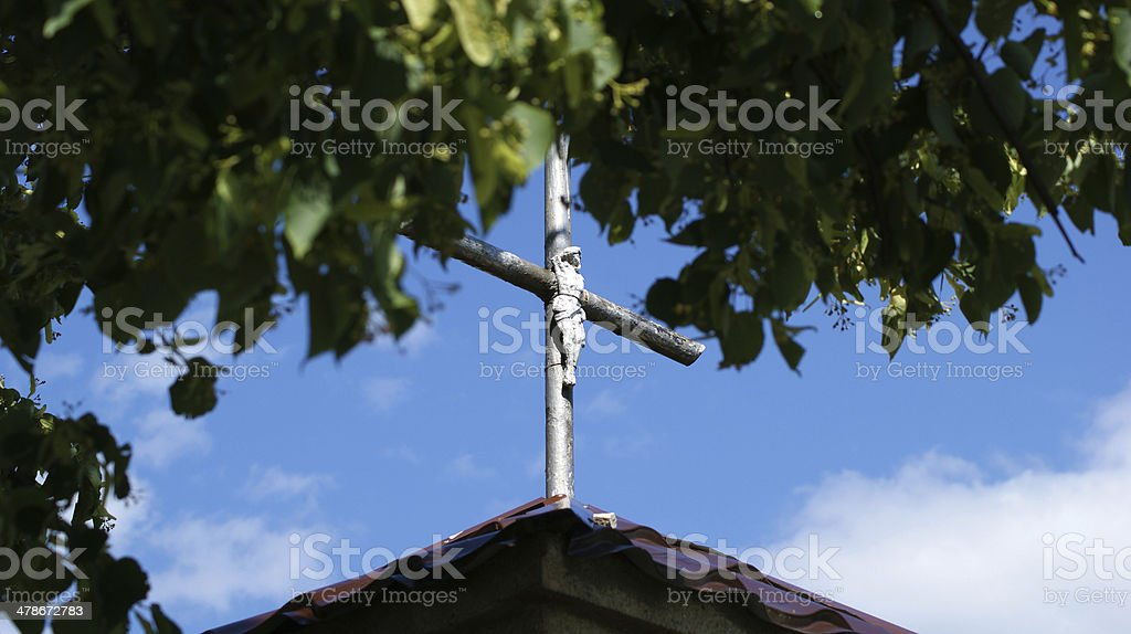 Cross on roof of the chapel stock photo