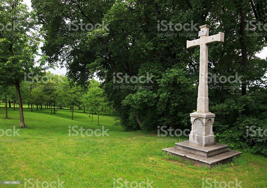 Cross on the gardens of Petrin in Prague. stock photo