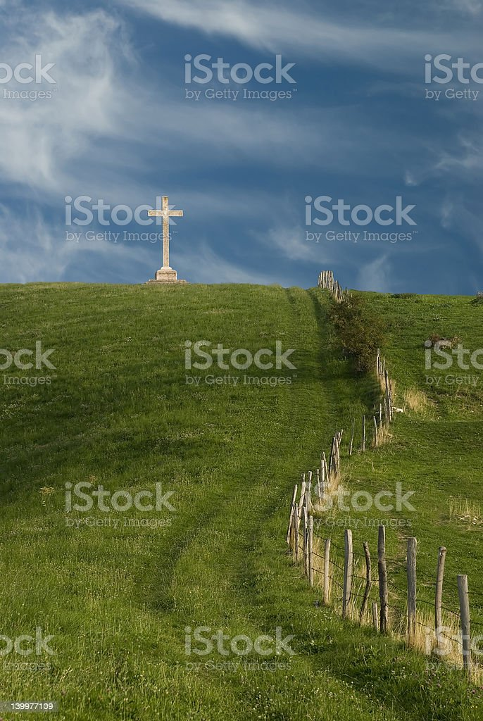 Cross on the hill royalty-free stock photo