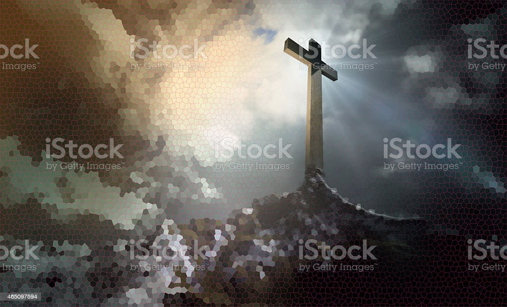 Cross on the hill stock photo